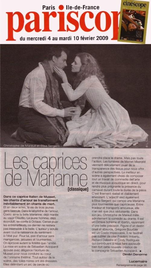 PARISCOPE : Les Caprices de Marianne