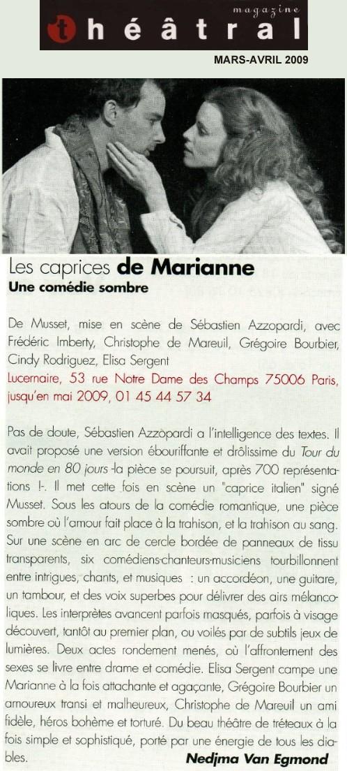 THEATRAL : Les caprices de Marianne