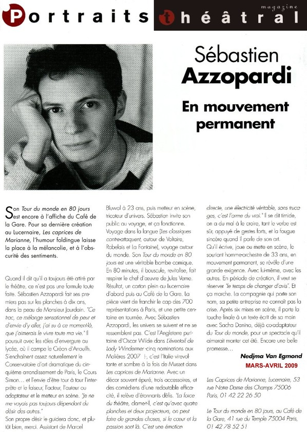 THEATRAL : Interview Sébastien Azzopardi
