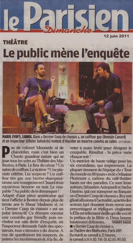 Le parisien dernier coup de ciseaux - Theatre des mathurins dernier coup de ciseaux ...