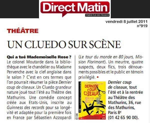 Direct matin dernier coup de ciseaux - Theatre des mathurins dernier coup de ciseaux ...