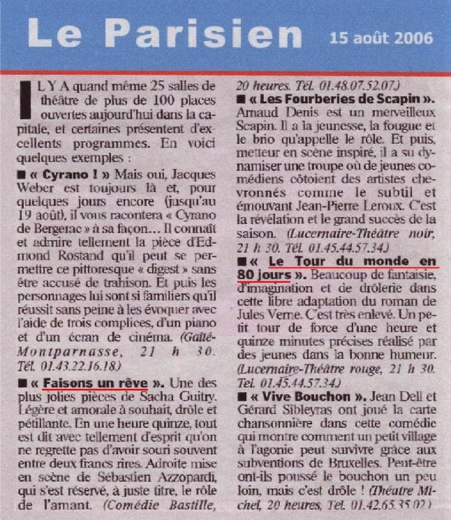 LE PARISIEN : Faisons un rêve & Le Tour du monde en 80 jours