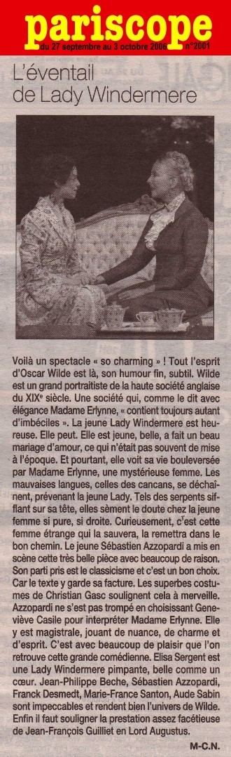 PARISCOPE : L'Eventail de Lady Windermere