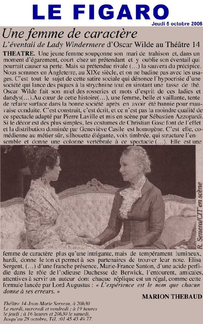 FIGARO : L'eventail de Lady Windermere