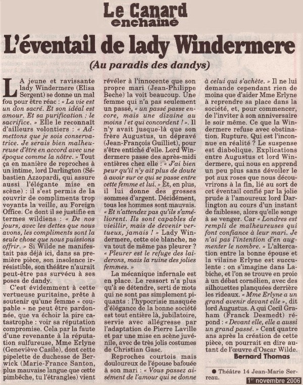 LE CANARD ENCHAÎNÉ : L'Eventail de lady Windermere