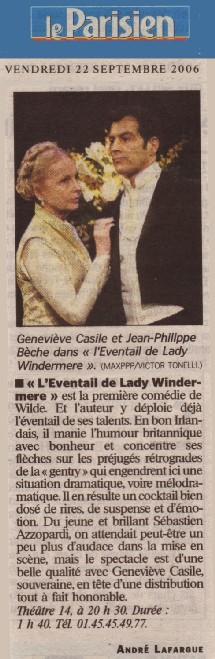 LE PARISIEN : L'éventail de lady Windermere
