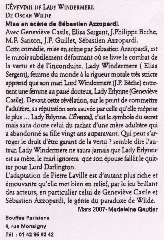 POLITIQUE MAGAZINE : L'Eventail de lady Windermere