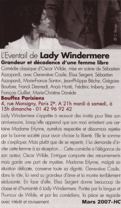 THEATRAL : L'éventail de lady Windermere