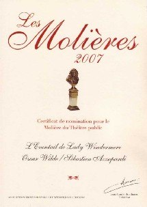 L'EVENTAIL DE LADY WINDERMERE : 5 Nominations MOLIERE 2007