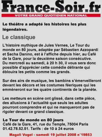 FRANCE SOIR : Le tour du monde en 80 jours